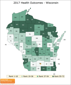 Map of Wisconsin Counties showing 2017 Health Outcomes Rankings