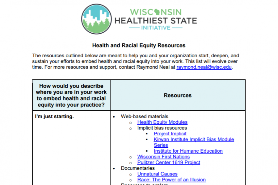 Screen shot of health equity resources document