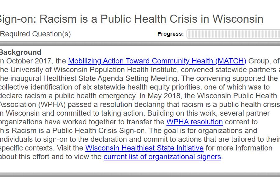 Screen shot of Racism Declaration sign-on