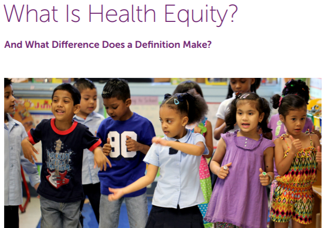 "Screen shot of ""What is Health Equity"" document"