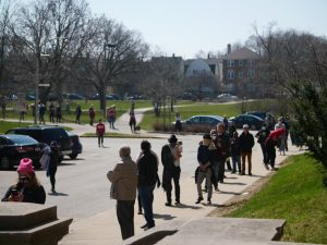 voters line up outside in Milwaukee WI