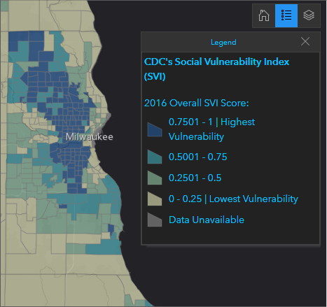 Map of the CDC's Social Vulnerability Index for Milwaukee County