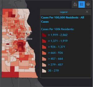Map showing cases per 100K residents in Milwaukee County