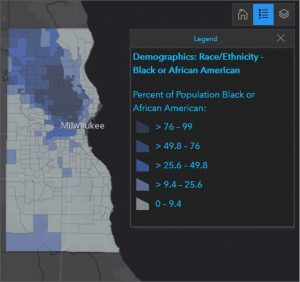 Map showing percent of population that is Black or African American for Milwaukee County.